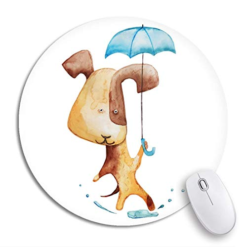 Runde Mauspad Aquarell Springender Hund Regenschirm Pfütze Wasser Tier Biest Cartoon rutschfeste Gummibasis Mausmatte Gaming Mousepad für Computer