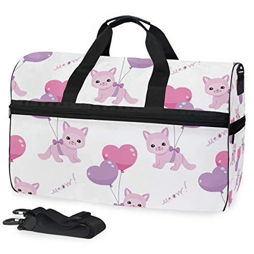 Oarencol Reisetasche/Reisetasche mit Kätzchen, mit Luftballon, Cartoon, Katze, Meow, Tiere, Reisetasche, Wochenendtasche, mit Schuhfach für Damen und Herren