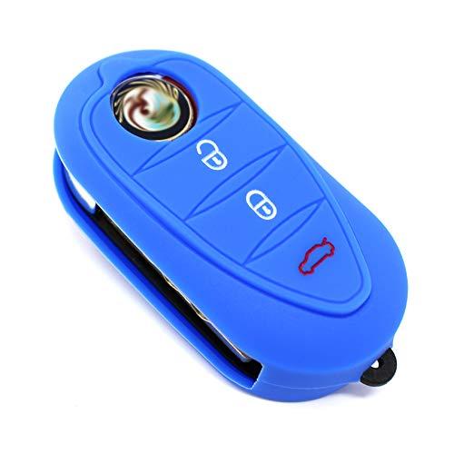 Funda de silicona de color azul para llave Alfa Romeo A 147 159 Brera Giulietta GT Mito Spider, de F