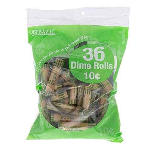 BAZIC Dime Coin Wrappers Rolls, Made in USA, Durable Preformed Paper Coins Tubes (36/Pack), 1-Pack
