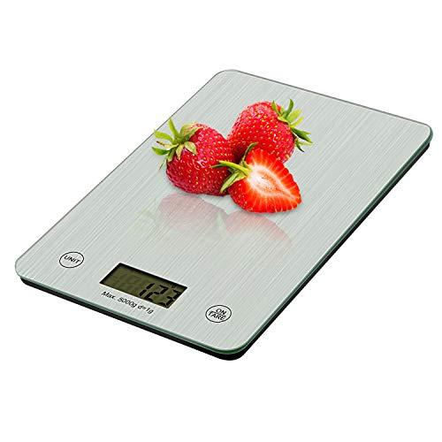 Redmoo Digitale Küchenwaage, Küchenwaage Digital 5KG/11lb mit Sensor-Touch, Hochpräzise LCD-Anzeige Elektronische Waage Haushaltswaage Digitalwaage, Silber