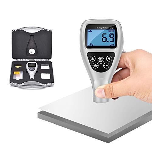 Misuratore di spessore del rivestimento, misuratore di spessore della vernice ad alta precisione, misuratore di profondità della vernice 0-1250μm con display LCD per auto Acciaio Alluminio Plastica