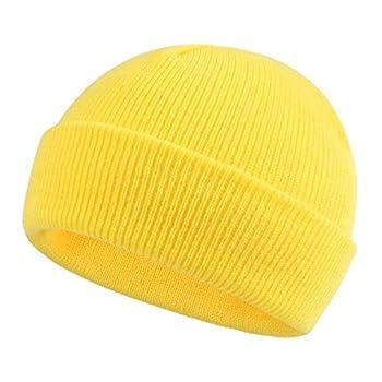 Classic Winter Knit Kids Hat Skull Cap for Toddler Boys Girls Autumn Men Women Fisherman Beanie  Yellow S