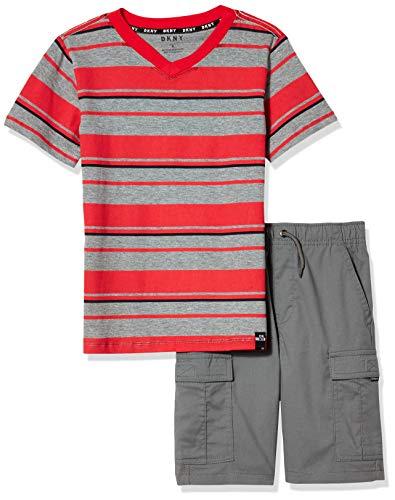 DKNY Boys' Shorts Set, Multi Color Stripe Grey, 5