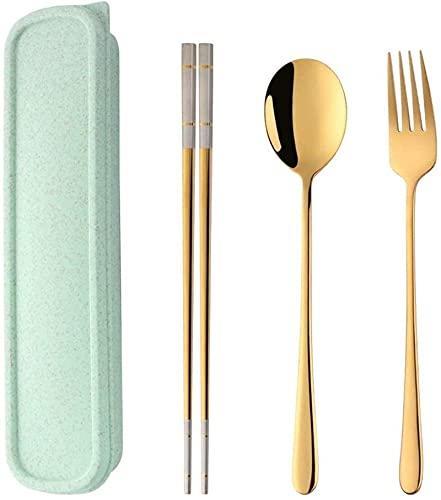 Conjunto de cubiertos portátiles de 3 piezas, palillos, tenedor y cuchara con estuche de viaje GIAOYAO (Color : Gold)