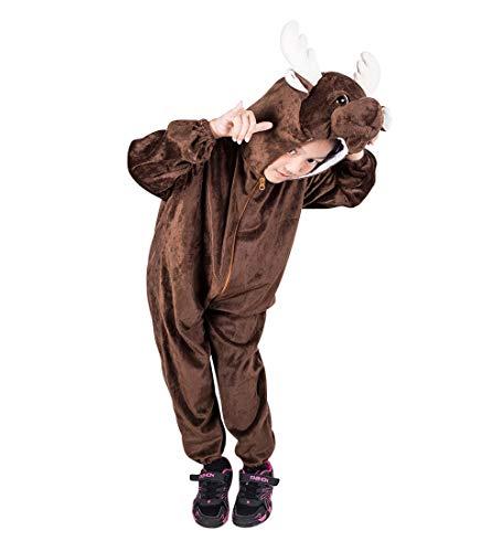 Seruna Elch-e Kostüm-e F140 Gr. 110-116, Kinder-Kostüme Hirsch Geweih Rentier-e REH-e Mädchen u. Jung-en Fasching-s Karneval-s Weihnacht-en Geschenk-e