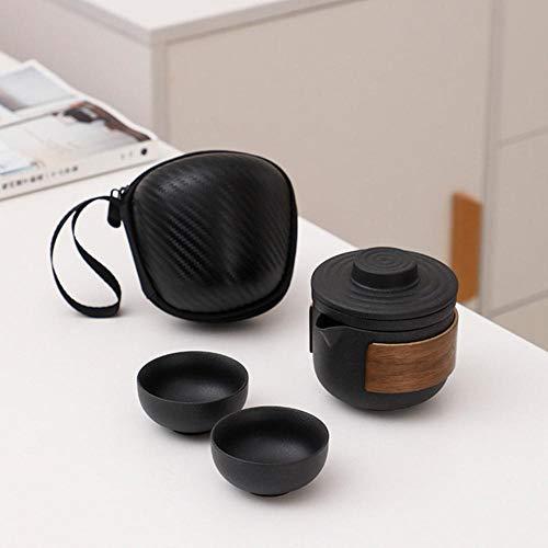 Vajilla negra Tetera de cerámica Tazas de té Gaiwan Kung Fu Teaset Juego de té portátil de viaje Drinkware-A