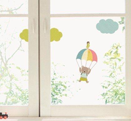 Unbekannt Kinder Fenstersticker Bär mit Fallschirm
