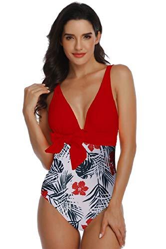 Yuson - Bikini sexy de mujer con estampado de flores brasileñas y push up para mujer rojo L