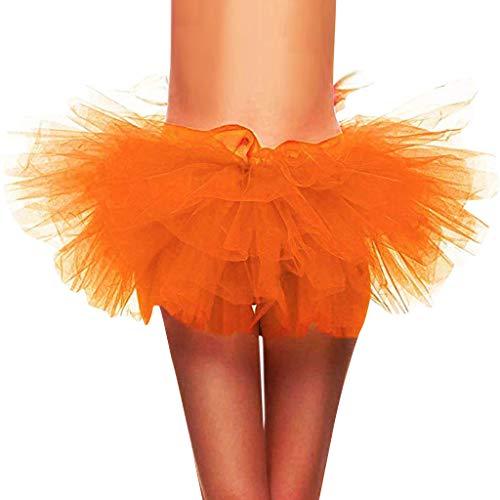 Best Price SSYongxia❤ Women Classic 5 Layered Tulle Tutu Skirt -Adult Ballet Style Tutu for Valentines, Princess Tutu, Dance Orange