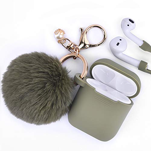 Airpods Case - Filoto Airpods Silicone Glittery Cute Case Cover with Keychain/Strap for Apple Airpod (Olive Green)