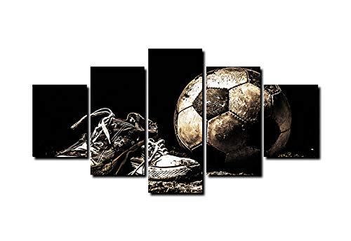 QianLei 5 zwarte voetbalschoenen kunst canvas gedrukt muurkunst schilderij geschikt voor decoratie en moderne decoratie fotodruk 30x45cm-2p_30x60cm-2p_30x75cm-1p_No_Frame