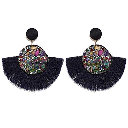 LLZIYAN Pendientes de borla de cristal geométrico con flecos, pendientes de tuerca, accesorio de joyería para mujer