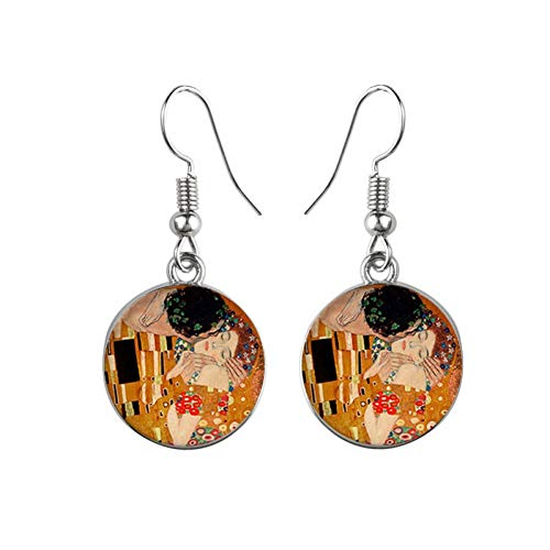 GUOZHENG Vintage Silber Farbe Einfach Stil Ohrringe Van Gogh Berühmte Künstler Sternennacht Ohrringe Runden Glasschmuck Frauen 9 Silber 9