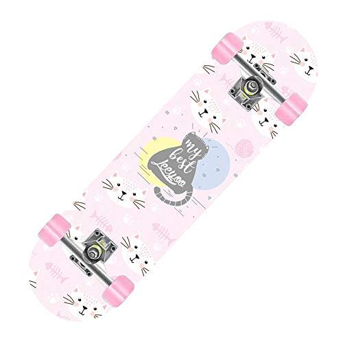 Skateboard Süße Katze Deck,Adults Kids Skateboard,Deck Aus Hartahorn,7-Lagiger Ahorn,Mehrere Designs (80 * 20 * 10 cm)