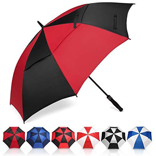 Amazon Brand - Eono Paraguas de Golf Resistente al Viento con Doble Tela y Sistema de Apertura automático, Paraguas Grande, Large Golf Umbrella, Deportivo, Unisex, Impermeable - 58-Inch, Negro/Rojo