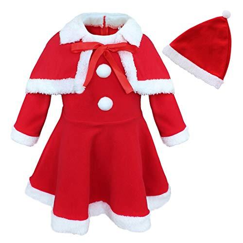 inhzoy Vestido Rojo de Papá Noel para Bebé Niña Disfraz de Navideño con Capa Roja Sombrero de Navidad Cosplay Christmas 12 Meses - 3 Años Rojo 24 Meses