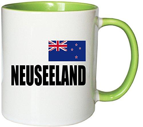 Mister Merchandise Kaffeetasse Neuseeland Fahne Flag Teetasse Becher, Farbe: Weiß-Grün