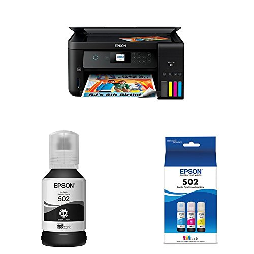 Epson Expression ET-2750 EcoTank Wireless Color All-in-One Supertank Printer with Scanner and Copier+T502 Ecotank Color Combo Pack+T502 Ecotank Black Ink Bottle