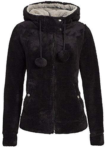 Urban Surface Damen Teddy Fleecejacke mit Öhrchen und Kapuze | Kuscheliger Zip Kapuzenpullover, Größe:L, Farbe:Black