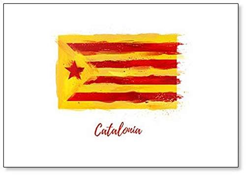Vlag van Catalonië Stijl aquarel Illustratie Koelkast Magneet