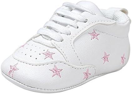Fossen Recién nacido Bebe Zapatos Cuero artificial Zapatillas con Bordado Pentagram Suela Blanda Antideslizante Primeros pasos Para Bebé Niñas Niño (0-6 meses, Rosa)