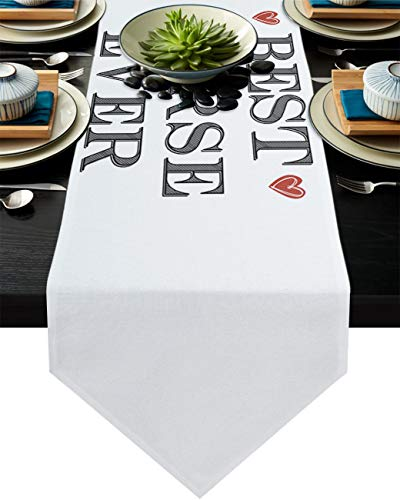 Best Nurse Ever and Red Love Heart Table Runner Dresser Scarves, Linen Burlap Tablecloths for Dining, Farmhouse Kitchen Bedroom Coffee/End Table, Home Decoration White 16x72in