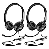 Mpow (2-Pack) USB Headset/3.5mm Computer Headset...