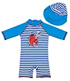 G-Kids Kinder Jungen Badeanzug Bademode Einteiler UPF 50+ UV Schützend Schwimmanzug mit Sonnenhut,Blau/Weiss,120-130 (Etikette 8)