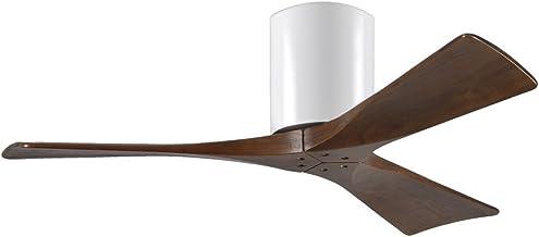 Atlas CASA Bruno Irene Hugger DC-Ventilateur de Plafond Ø 107 cm, Blanc / 3 pales en Bois Couleur Noyer