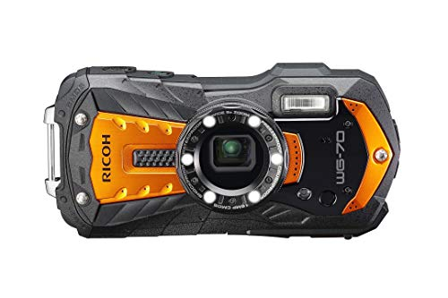 Ricoh WG-70 Fotocamera Digitale, 16 MP, Impermeabile, Antiurto, Fotografia Subacquea 6-LED, Ring Light Digital Microscope, Arancione, Compatto