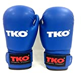 TKO Boxing Gloves Leather Blue 12 oz