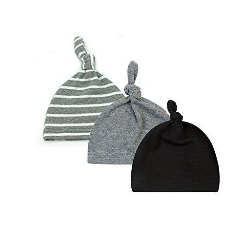 BBPIG Unisex Baby 100% Cotton Adjustable Knot Hat Cotton Soft Caps (3 Pack)