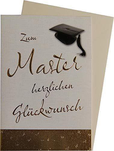 Glückwunschkarte in gold zum bestandenen Master mit Doktorhut 63-1108