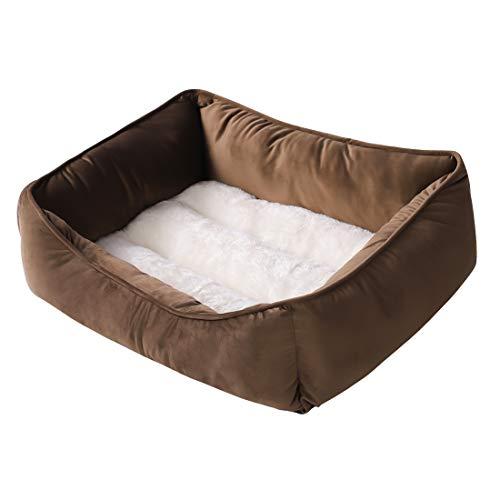 Camas para perros autocalentables, rectangulares, lavables con algodón firme y transpirable para gatos, cama ortopédica para dormir (mediano, marrón)