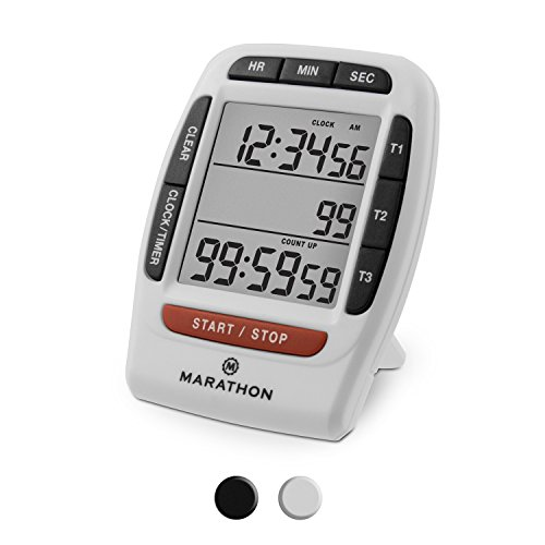 Marathon Multi Event Digital Timer with Clock Function, Stand, Magnetic Back and Ring Alarm (White Triple Timer)