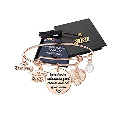 Yesteel Graduation Gifts for Her, Class of 2021 Inspirational Initial Heart Charm Graduation Bracelets, Seniors High School College Graduation Gifts Jewelry for Daughter Women Girls