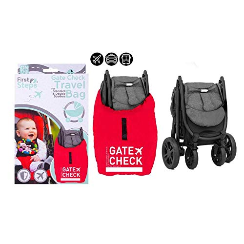 Pram Travel Bag Gate Way Check Protector for Standard and Double Prams Stroller Airplane Travel Holiday Waterproof Universal Size Easy to Use Red Sack.