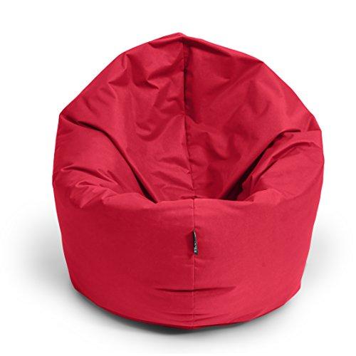 BuBiBag Sitzsack L - XXL 2-in-1 Funktionen mit Füllung Sitzkissen Bodenkissen Kissen Sessel BeanBag (100 cm Durchmesser, rot)