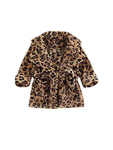 Albornoz de franela para niños, color sólido/estampado de leopardo con bolsillo para niñas y niños, leopardo, 2-3 Years