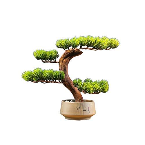 Decorar Nueva simulación china Small Yingbin Pine Tree Simulación Árbol de simulación Jardín al aire libre Oficina Decoración de la oficina Fake Planta Potted Árbol de simulación Bonsai Adornos