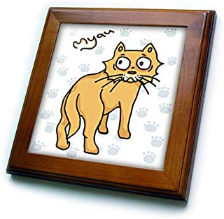 3dRose Warya - Animals. - Ginger Cat Say Meou - 8x8 Framed Tile (ft_299938_1)