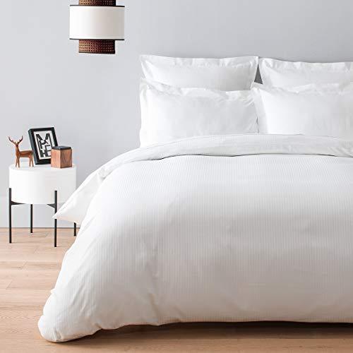 Cotton & Co – Funda de edredón de satén de algodón egipcio de 120 hilos – 300 Tc Oslo, blanco, 240_x_290_cm