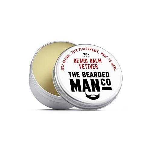 The Bearded Man Company Bálsamo para barba 30 g – 25 aromas diferentes para elegir nuevo todo natural dejar en acondicionador para hombres. 30 g lata (Vetiver)
