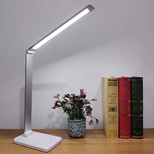 WWWL Lámpara de escritorio LED lámpara de escritorio 5 colores Stepless regulable táctil USB recargable lectura ojo proteger con temporizador lámpara de mesa luz de noche 5 colores