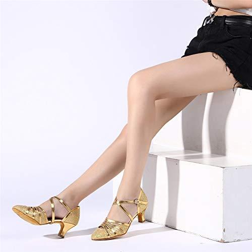 HROYL Damen Tanzschuhe/Latin Dance Schuhe Glattleder Ballsaal Modell-D5-511 Gold 40 EU - 6