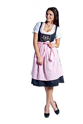 donnerlittchen! Midi-Dirndl Frida Schwarz/Rosa Edelweiß inklusive Bluse und Schürze Tracht 32-46, Größe:38
