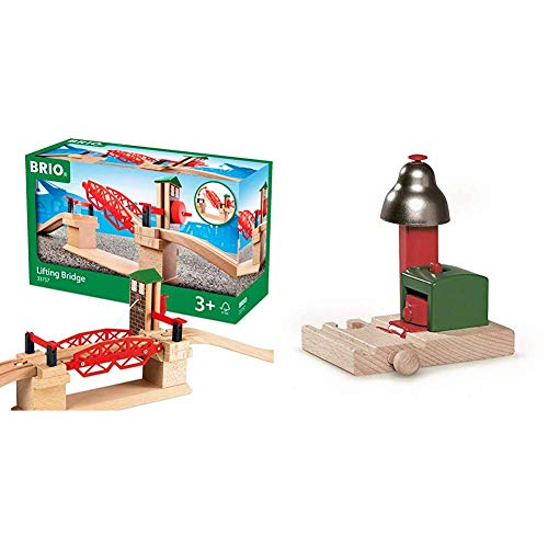 BRIO 33757 Lifting Bridge | Toy Train Accessory with Wooden Track for Kids Age 3 and Up & World - 33754 Magnetic Bell Signal | Accessory for Toy Train Sets for Kids Ages 3 and Up