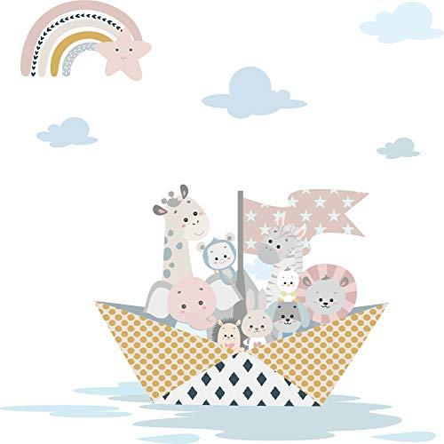 greenluup Öko Wandsticker Wandaufkleber Wandtattoo Tiere Schiff Boot Regenbogen Pastell skandinavisches Design Wolken Kinderzimmer Baby Mädchen Junge Kleinkind