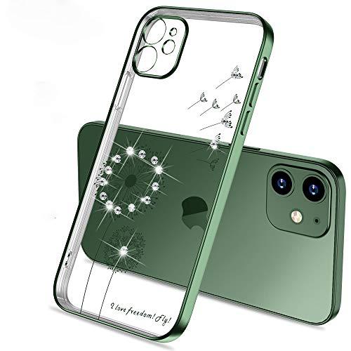 Eiiv7Panda für iPhone 12 Mini Löwenzahn Kristall TPU Hülle Soft Slim Bling Plating Gummiabdeckung für iPhone 12 Mini 5.4 Zoll mit Strass Diamond Bumper Mode Kasten - Dunkelgrün